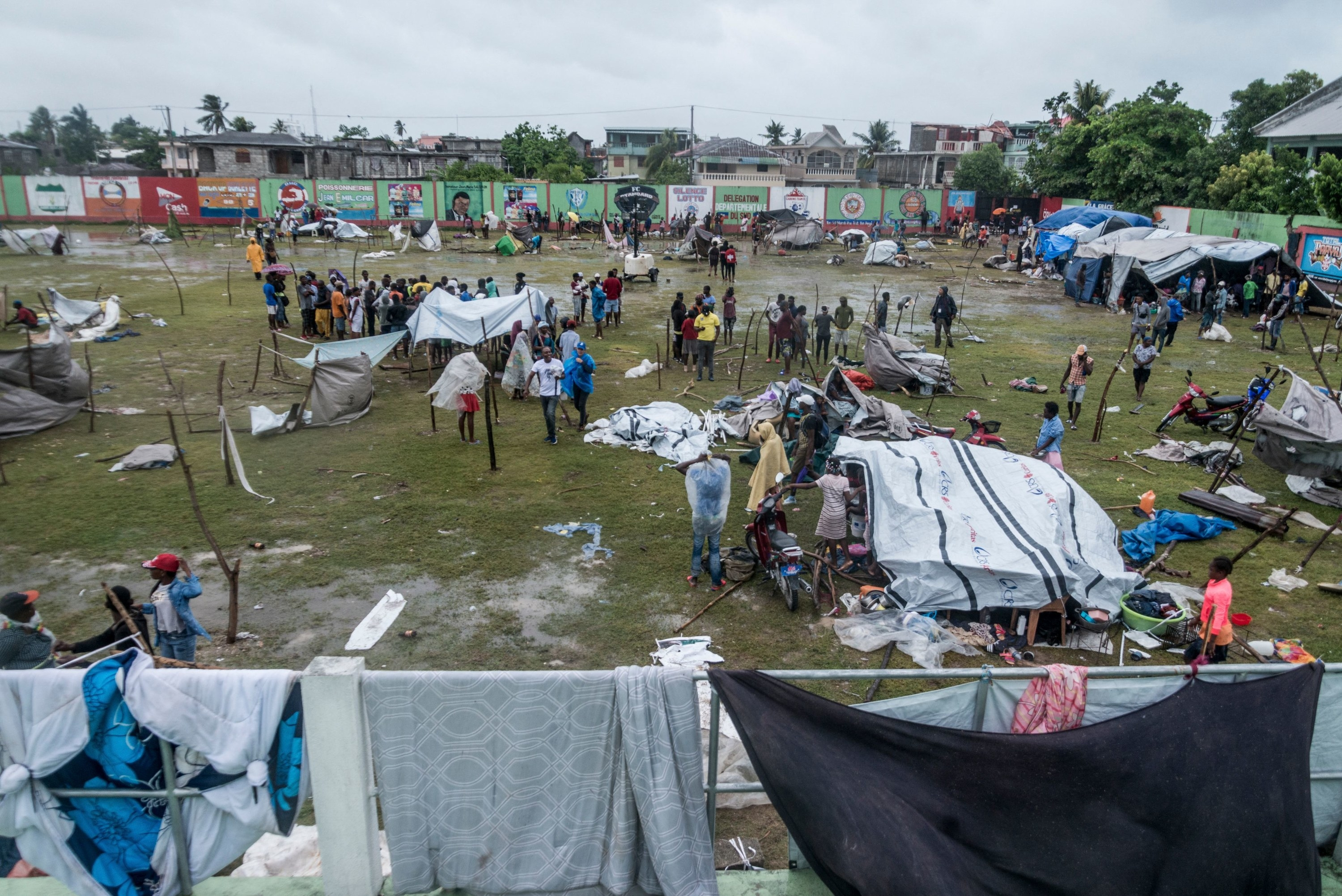 An aerial view of a camp set up for victims of the tropical storm