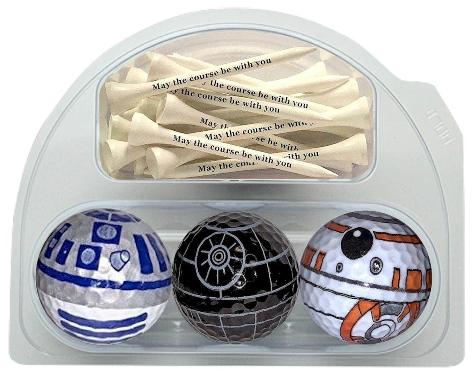 one death star, r2d2, and bb8 gold ball with several tees that say may the course be with you
