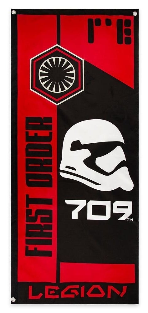 bold red and black flag with first order and storm trooper head on the front