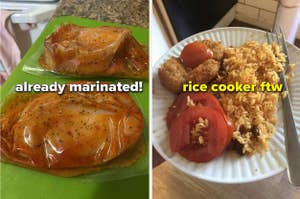 marinated chicken in individual packets, plate of Puerto Rican rice