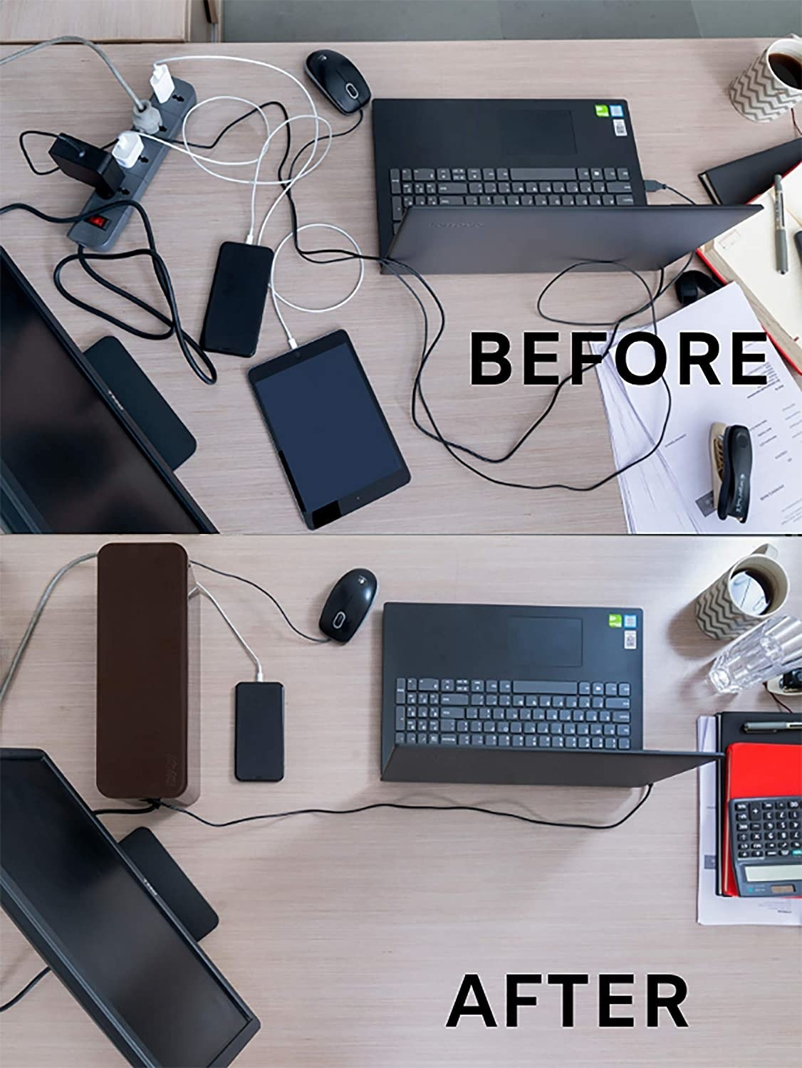 A before-and-after image of a work desk. The before image shows us a messy desk with cables all over the place. The after image shows us a tidy desk with cables neatly arranged using the wire bin.