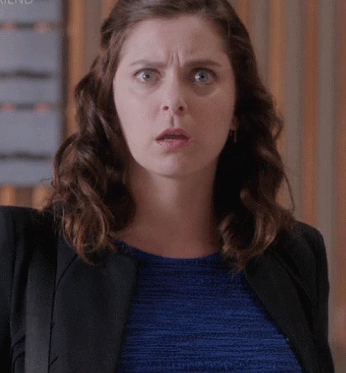 shocked Rachel Bloom as Rebecca Bunch