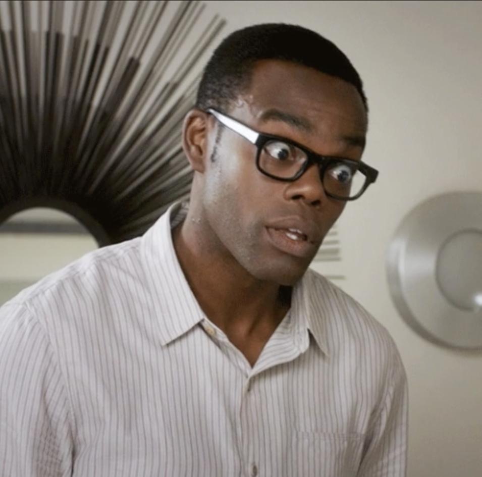Distraught William Jackson Harper as Chidi Anagonye
