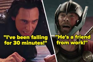 Loki lays on the floor with an angry expression on his face and Thor looks up with his mouth open as he's mid sentence