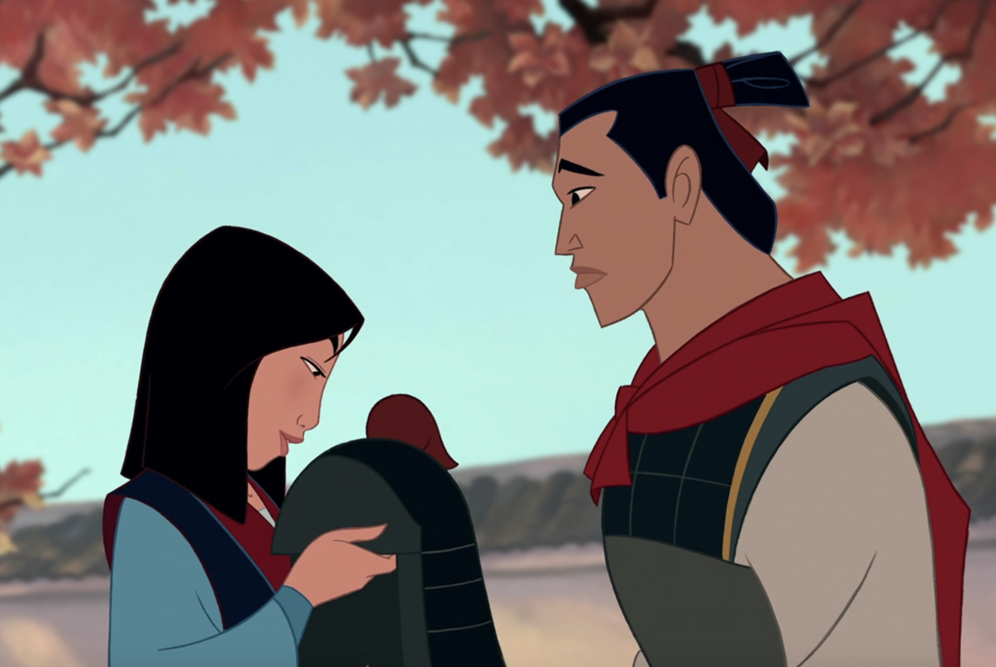 Li Shang handing a helmet to Mulan at the end of the movie
