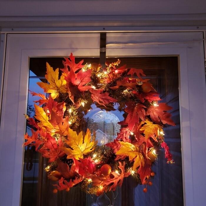 a reviewer's lit fall wreath