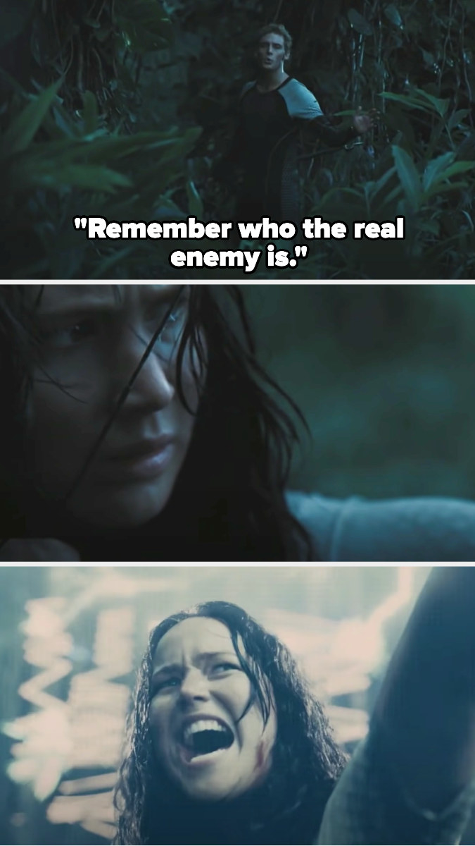 Finnick tells Katniss to remember who the real enemy is then she shoots an arrow at the dome