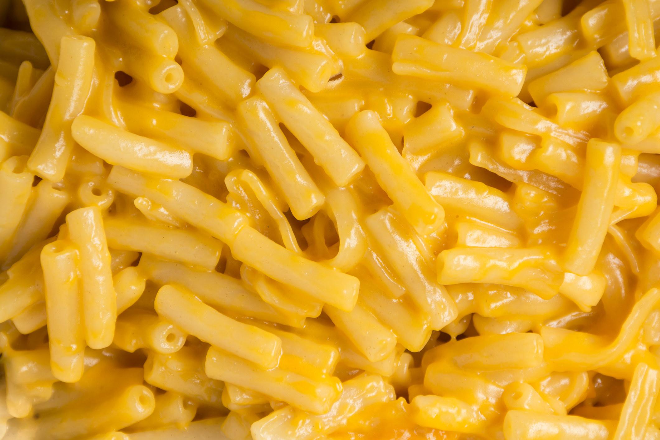 An up close photo of mac 'n' cheese.