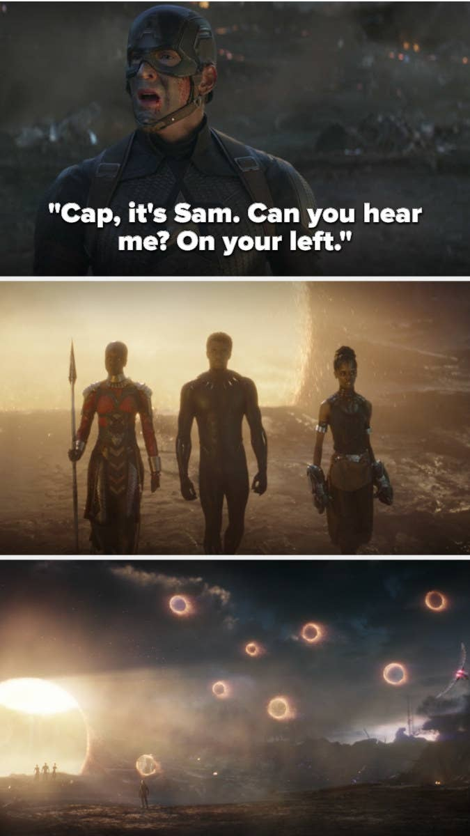 """Cap hears Sam say """"on your left"""" and the portals all open"""