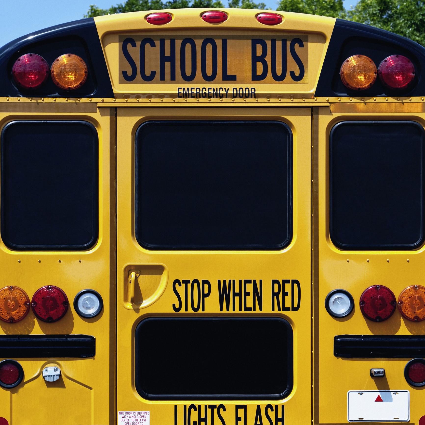 A yellow school bus.