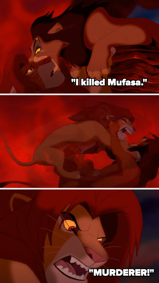 """Simba's hanging off a cliff and Scar whispers that he killed Mufasa - Simba pushes him down and shouts """"murderer!"""""""