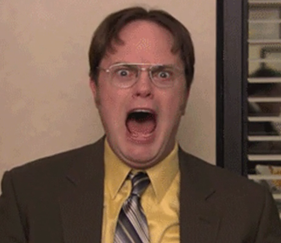 """Dwight Schrute from """"The Office"""" screaming at the camera"""