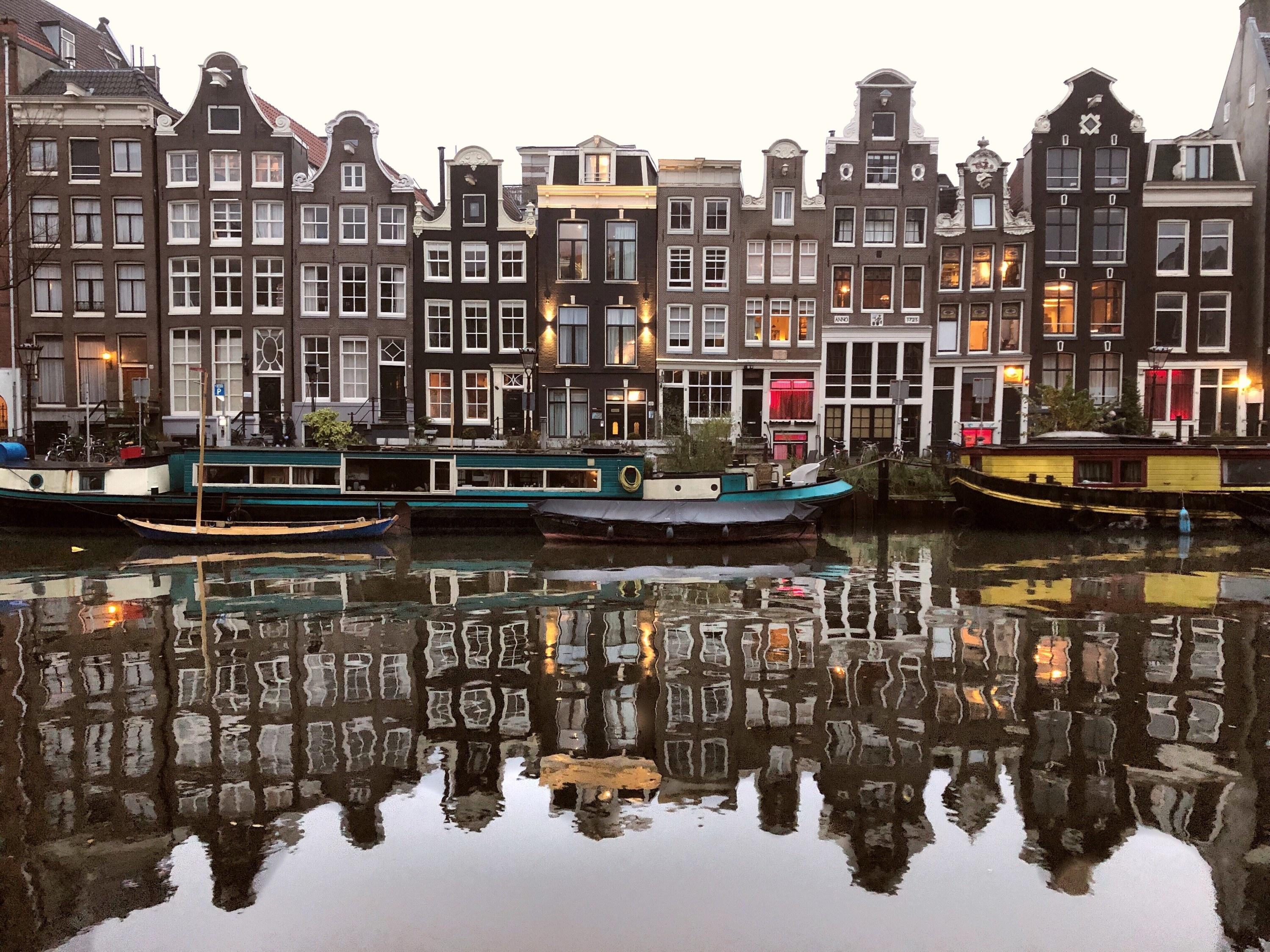 A view of the houses along the canal in Amsterdam