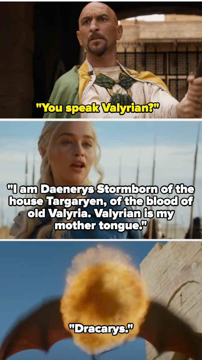 """Daenarys reveals she can speak Valyrian, as it's her mother tongue, then says """"Dracarys"""" and her dragon sets Kraznys on fire"""