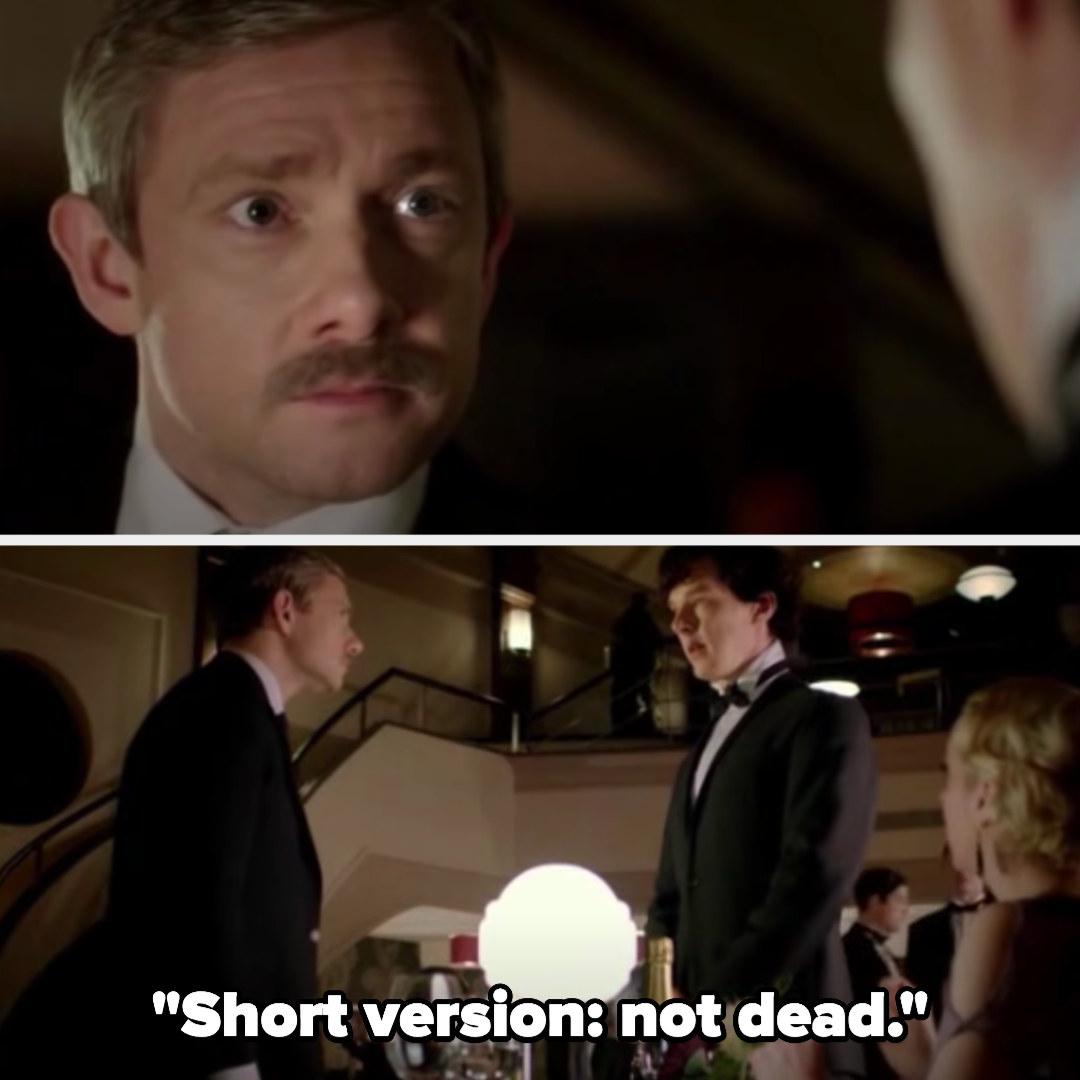 "John sees Sherlock and Sherlock says ""Short version: not dead"""