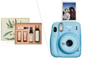 Kama Ayurveda Must Have face care gift set in a box, instax mini 11 in powder blue colour with a picture