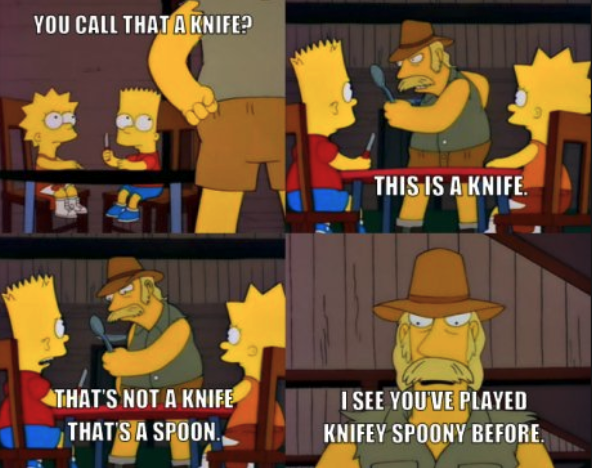 A scene from The Simpsons showing an Australian man whipping out a spoon in response to Bart holding a knife