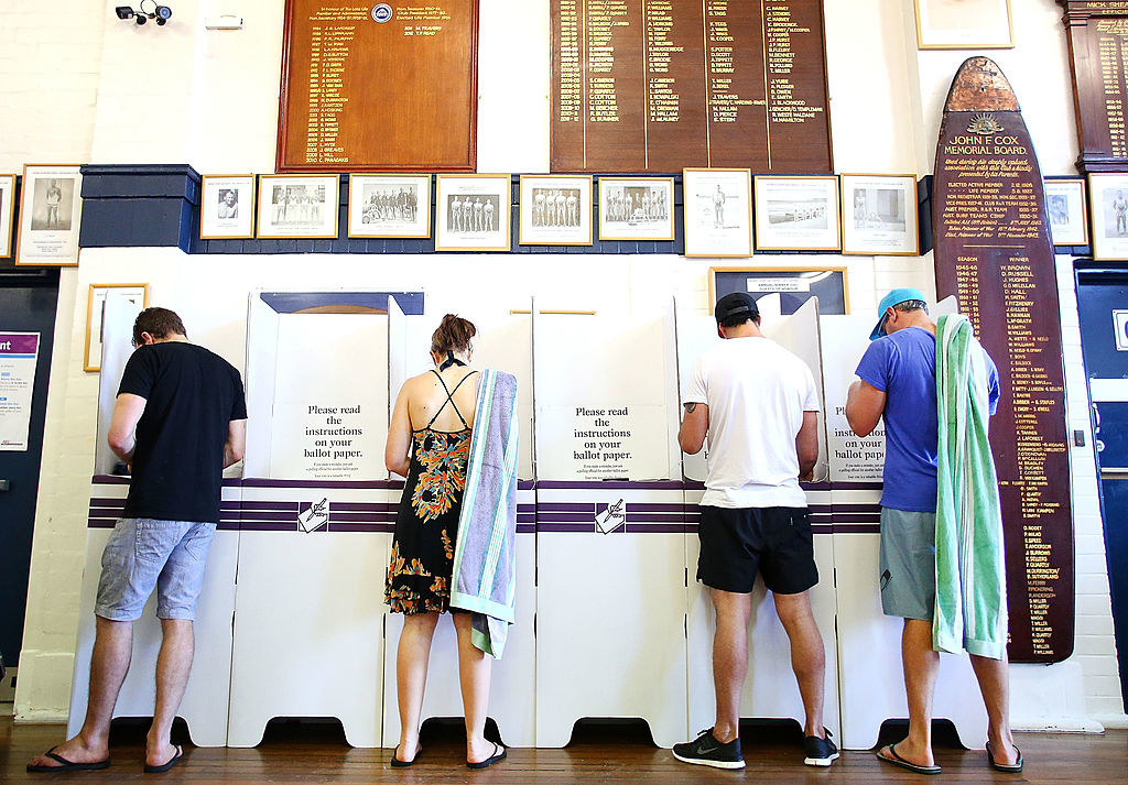 Voters head to the polls in Bondi Beach in the electorate of Wentworth on election day