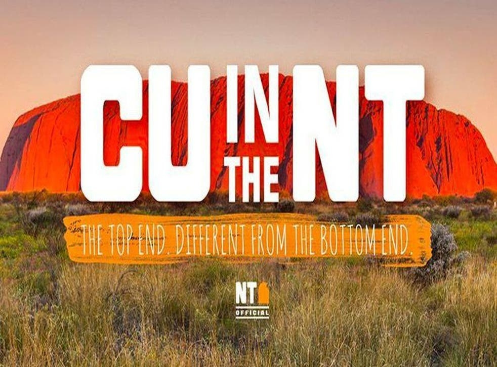 """An advertising poster for Northern Territory; it has Uluru in the background and text which says """"C U in the NT"""""""