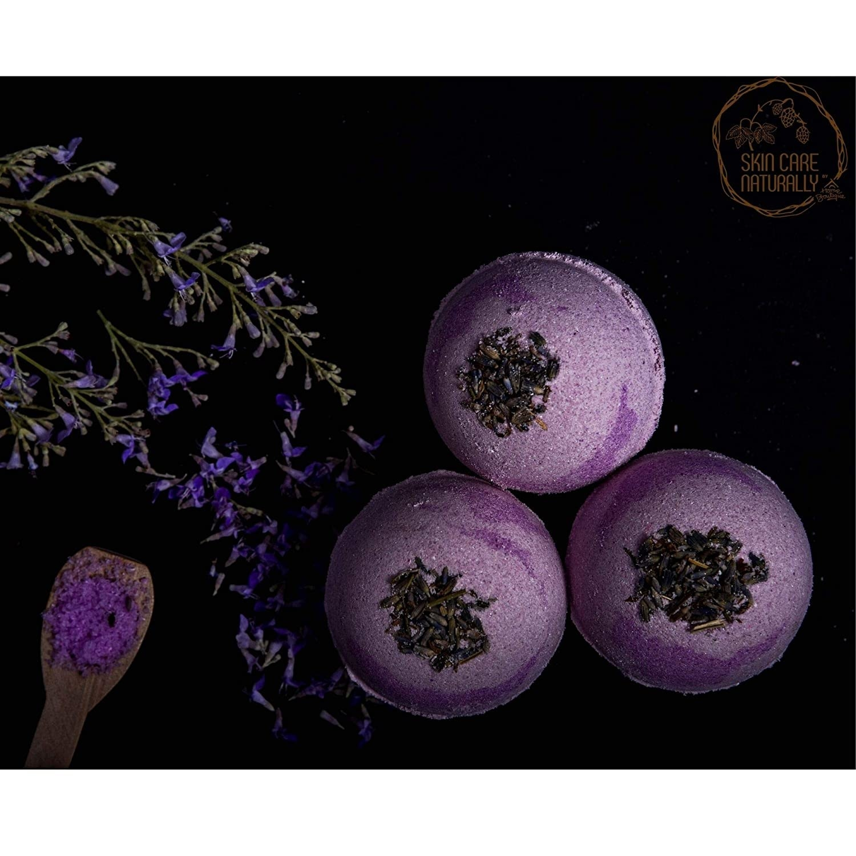 Three lavender bath bombs