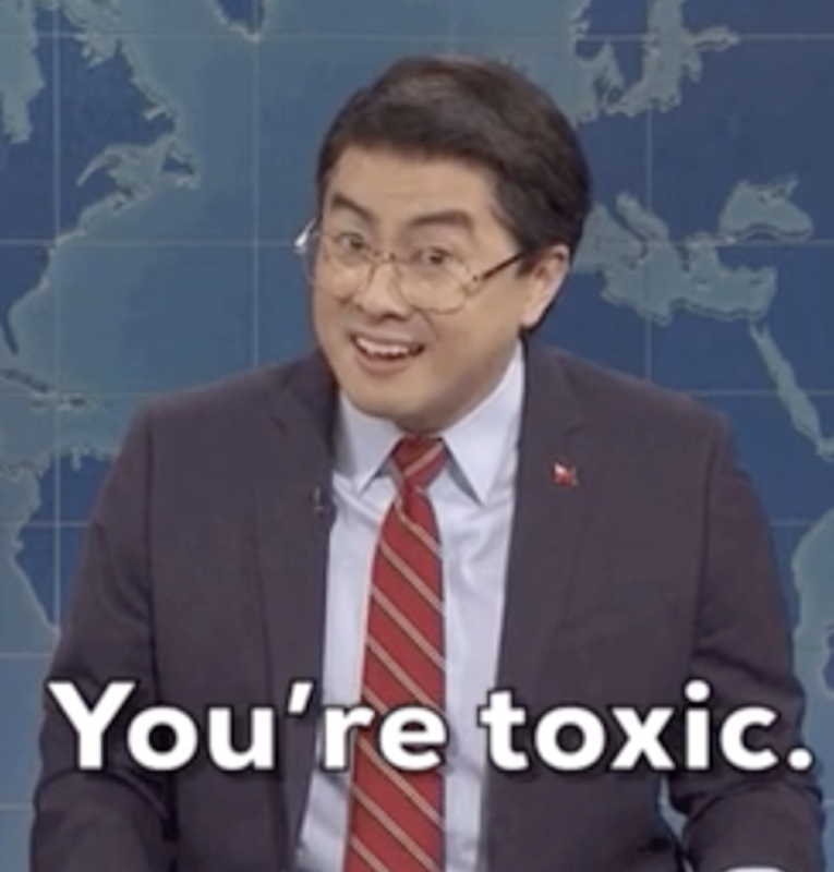 """Bowen Yang on """"SNL"""" at the update desk, saying: """"You're toxic"""""""