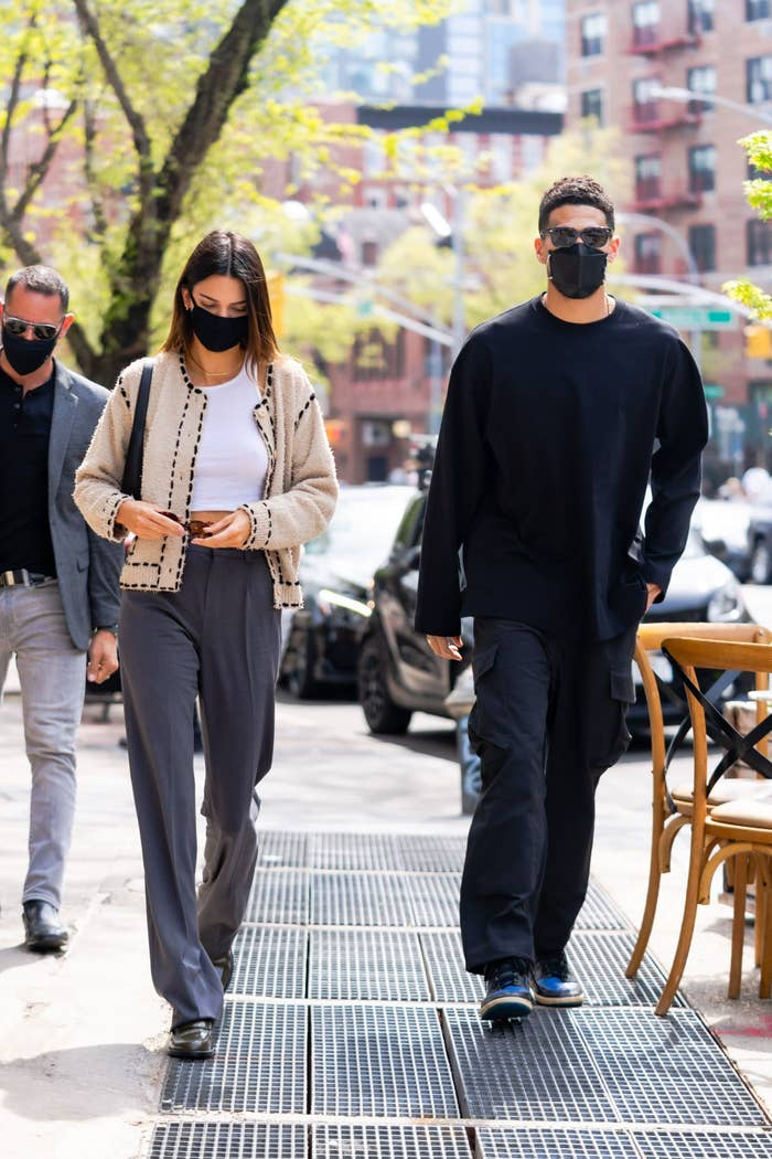 Kendall Jenner and Devin Booker are photographed walking outside in New York City