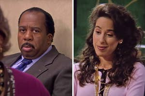 """On the left, Stanley from """"The Office,"""" and on the right, Janice from """"Friends"""""""