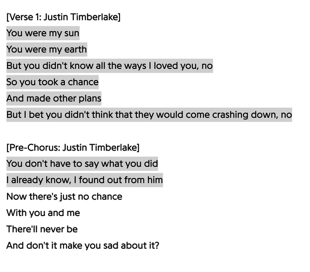 """Lyrics from """"Cry Me a River"""""""