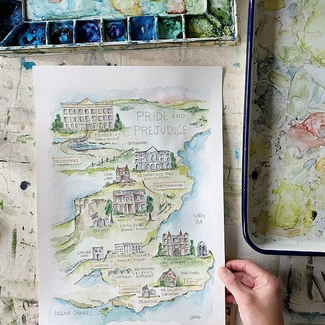 the water color map of pride and prejudice