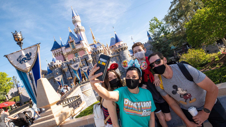 A family at Disneyland