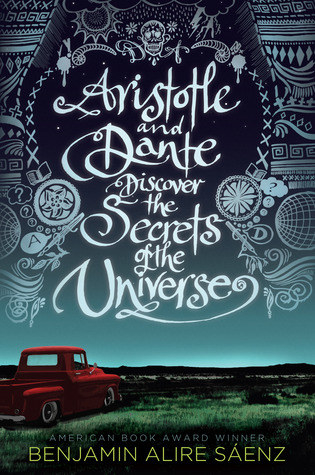 Book cover shows a night sky, an open field and a red pickup truck with white title text and illustrations surrounding it