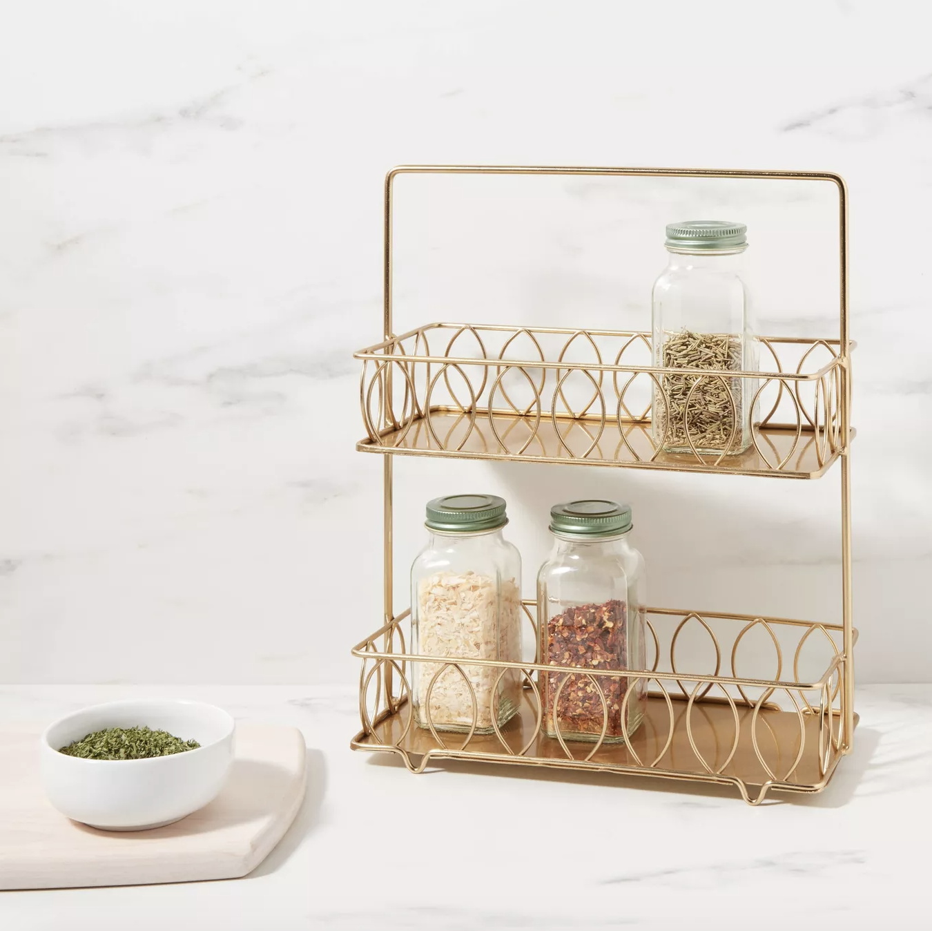 the two-tiered golden spice rack