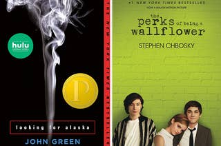 Two split images; book covers for Looking For Alaska and The Perks of Being A Wallflower
