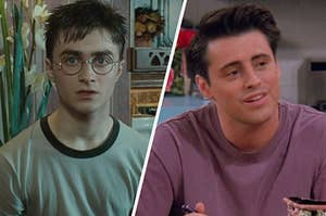 Harry Potter looks worriedly into the camera and Joey Tribianni is mid sentence