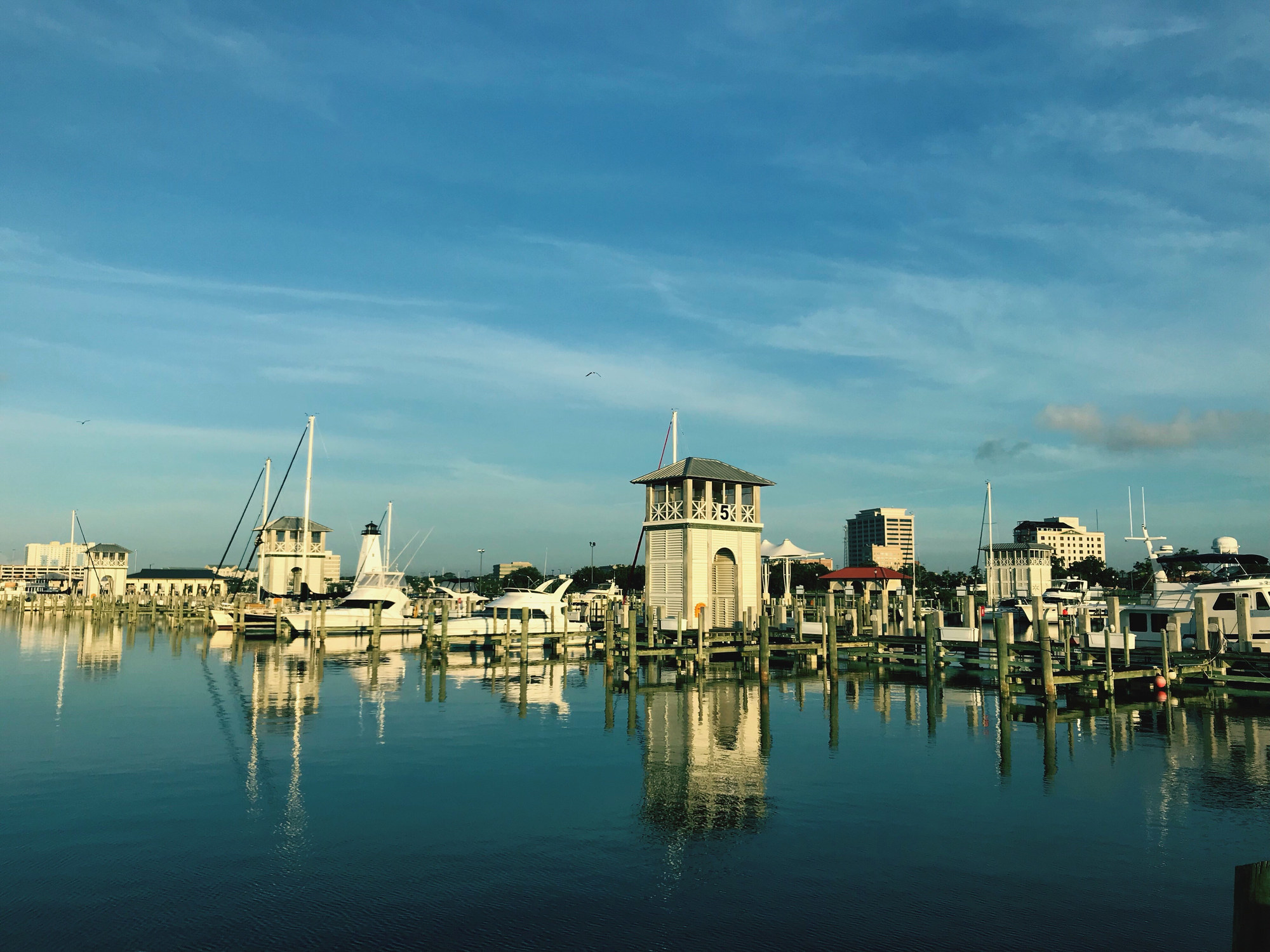 A harbor with ships in Gulfport, Mississippi.
