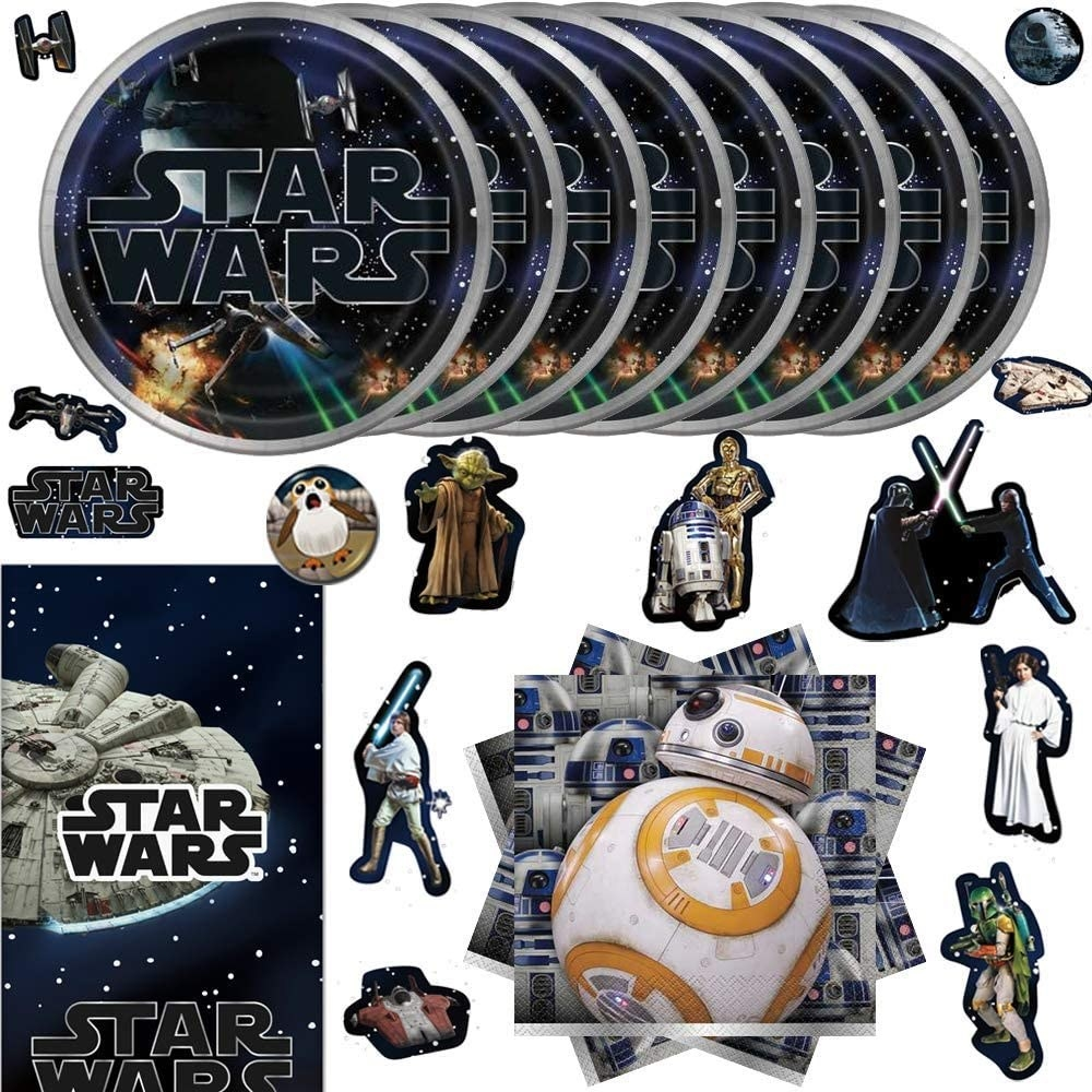 several plates, napkins, and stickers of star wars themes and characters