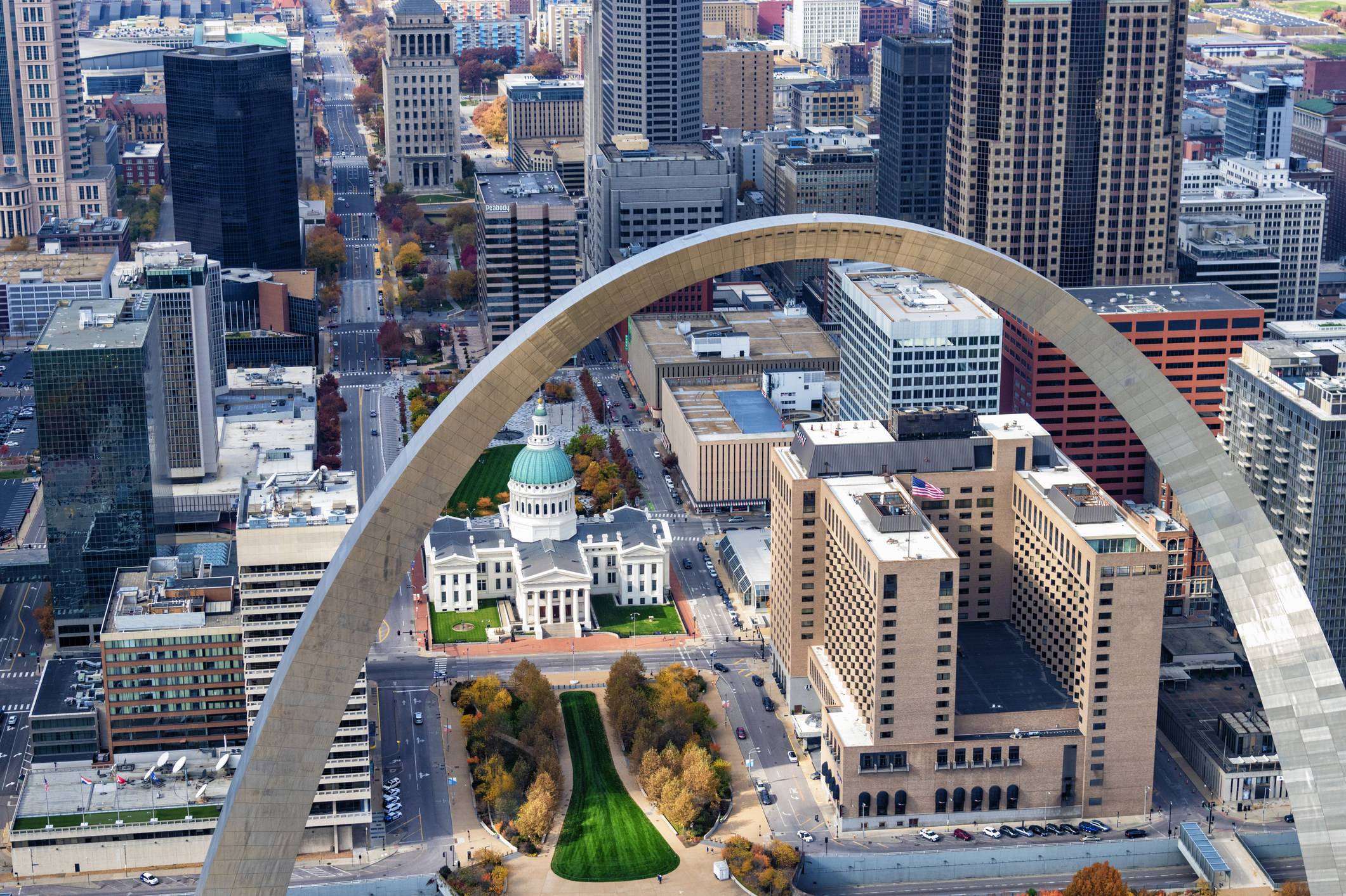 Downtown St. Louis with a view of the Arch.