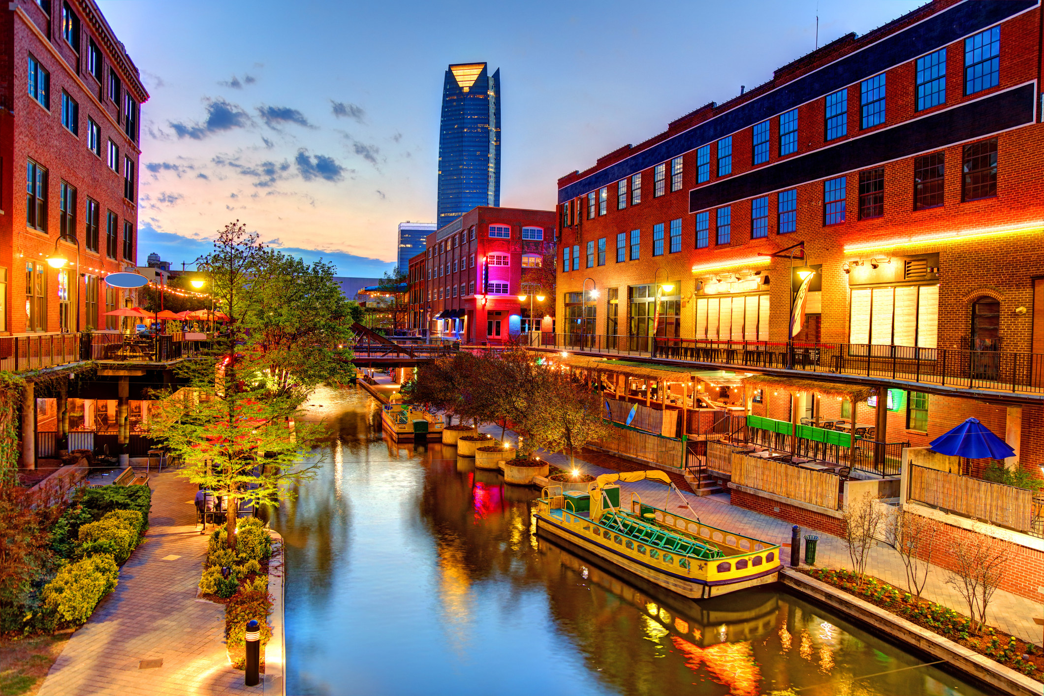 The entertainment district in Oklahoma City with a riverwalk.