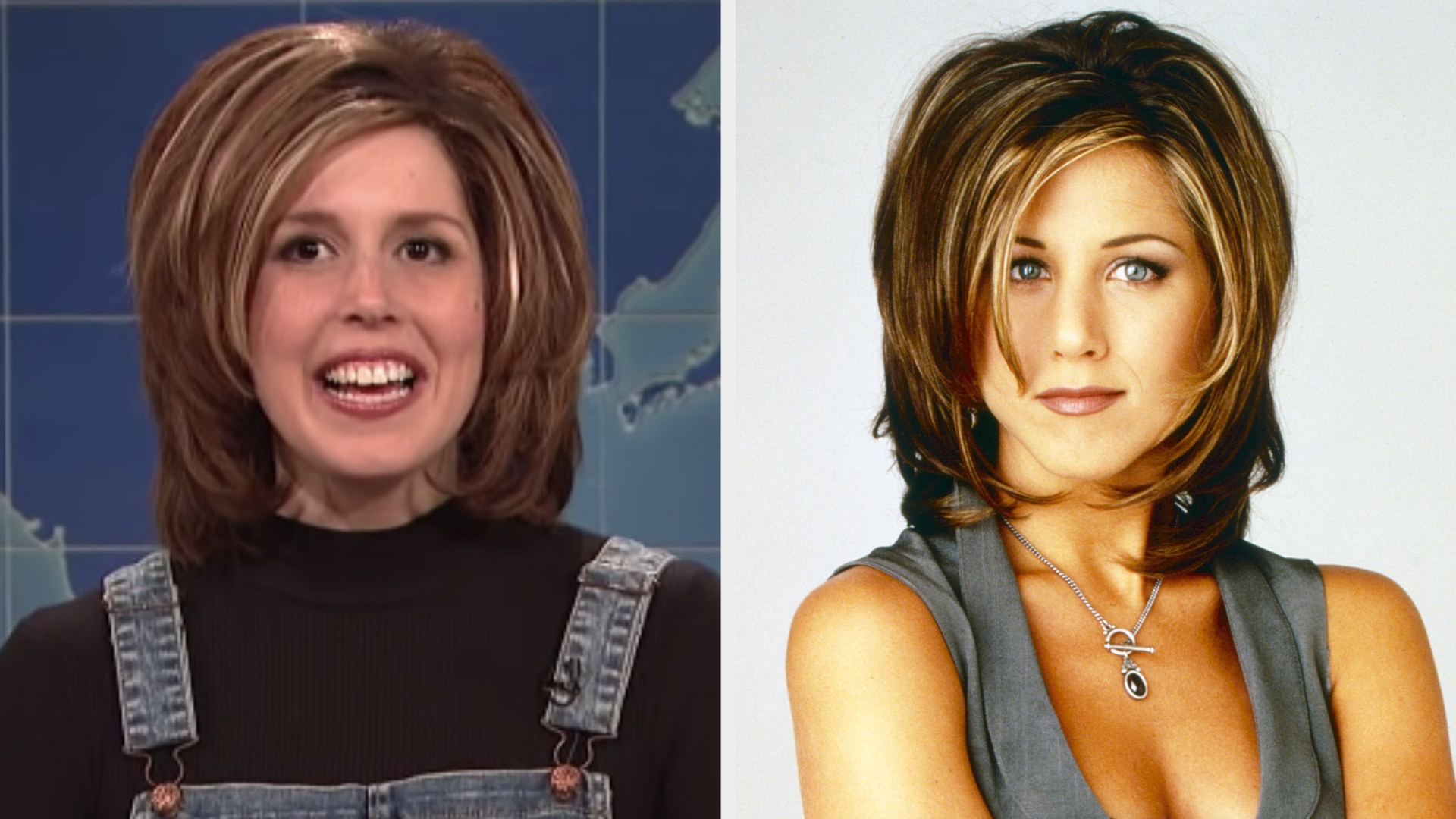 """Vanessa Bayer dressed with the signature """"Rachel"""" haircut from """"Friends"""" side by side with Jennifer Aniston with the same hair"""