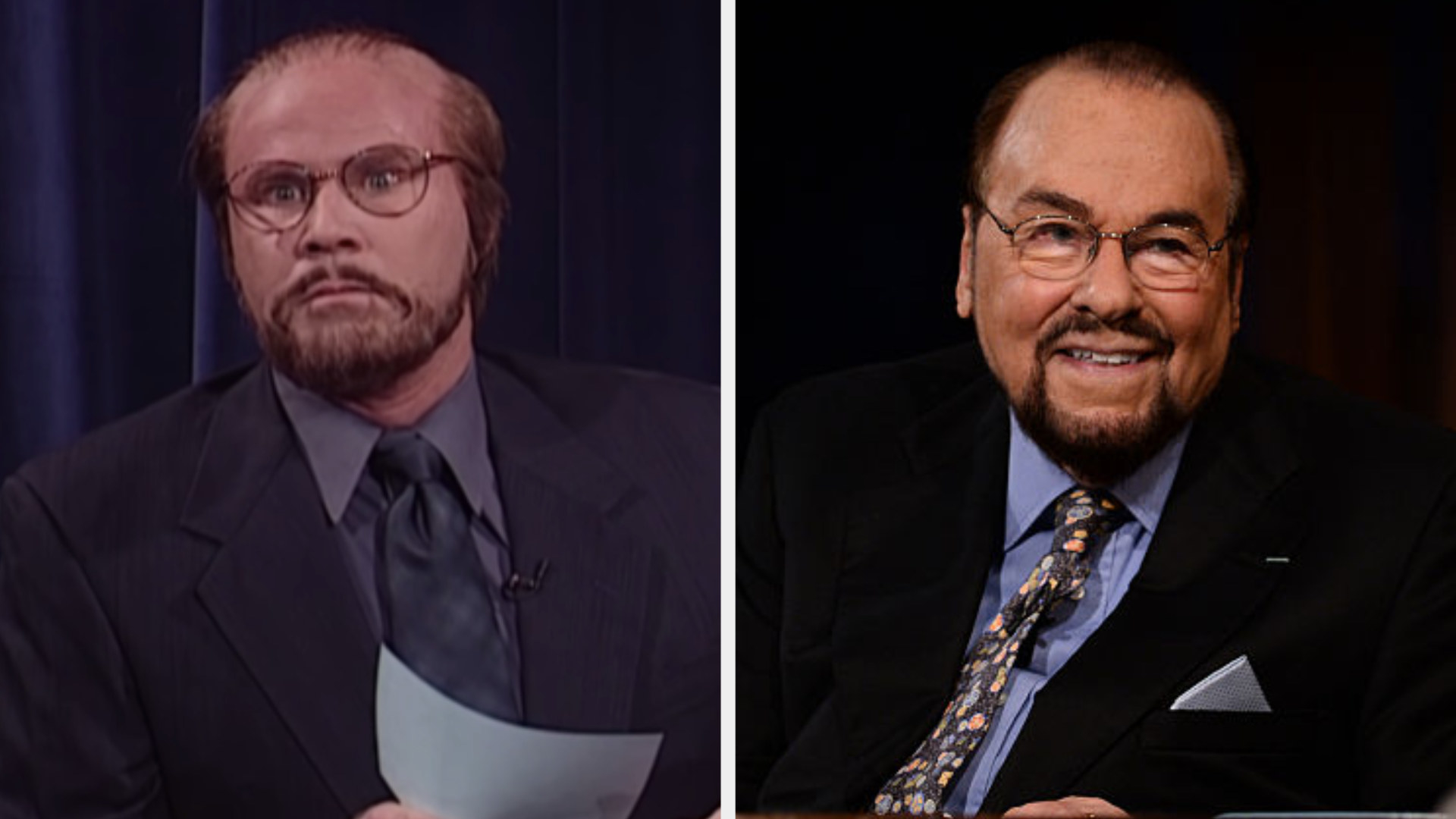Will Ferrell with a receding hairline and glasses side by side with James Lipton