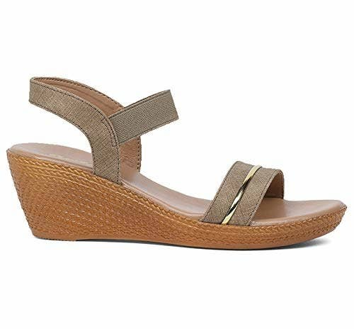 Sandals with a brown heel and grey straps