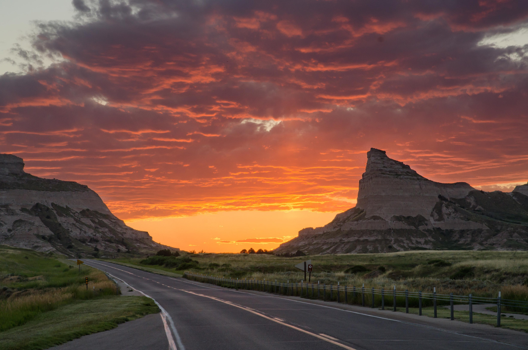 Sunset over Scotts Bluff National Monument.