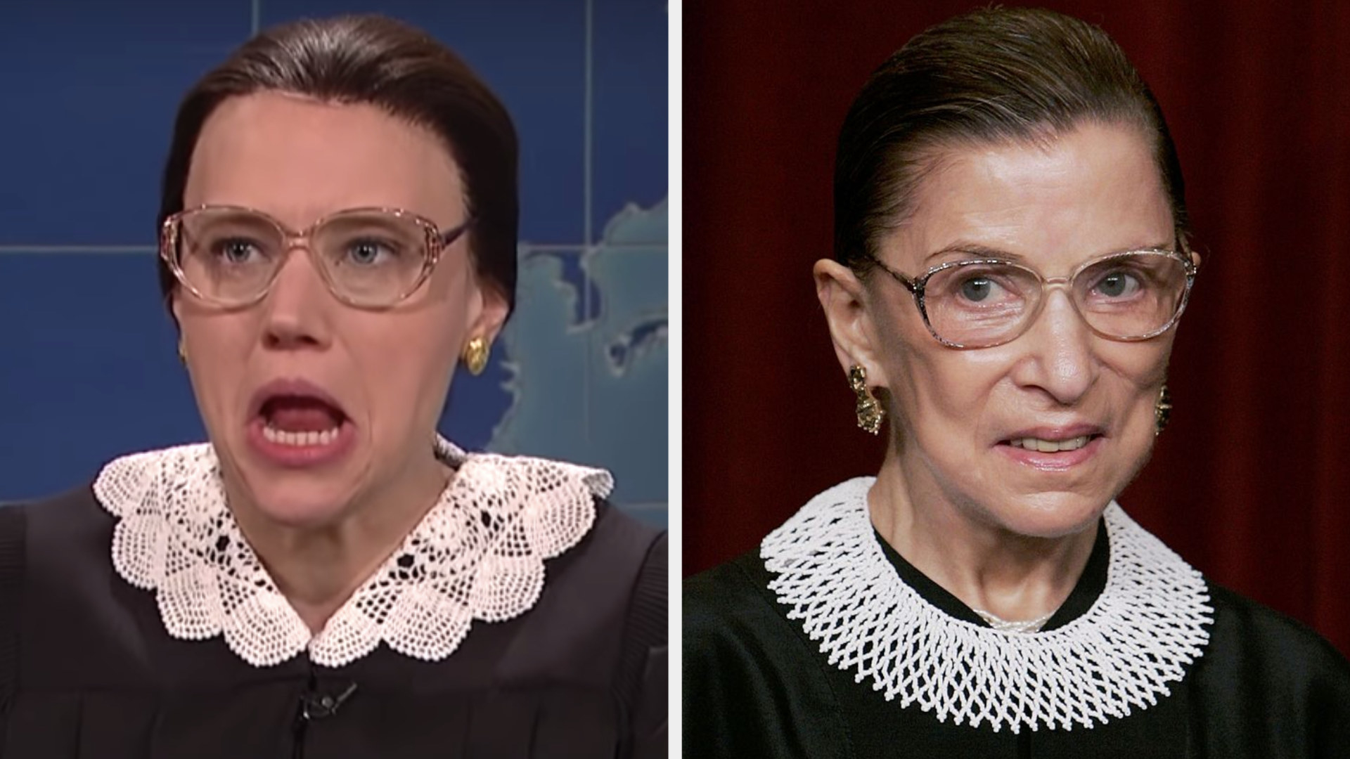Kate McKinnon in a black robe with a white lace collar side by side with RBG