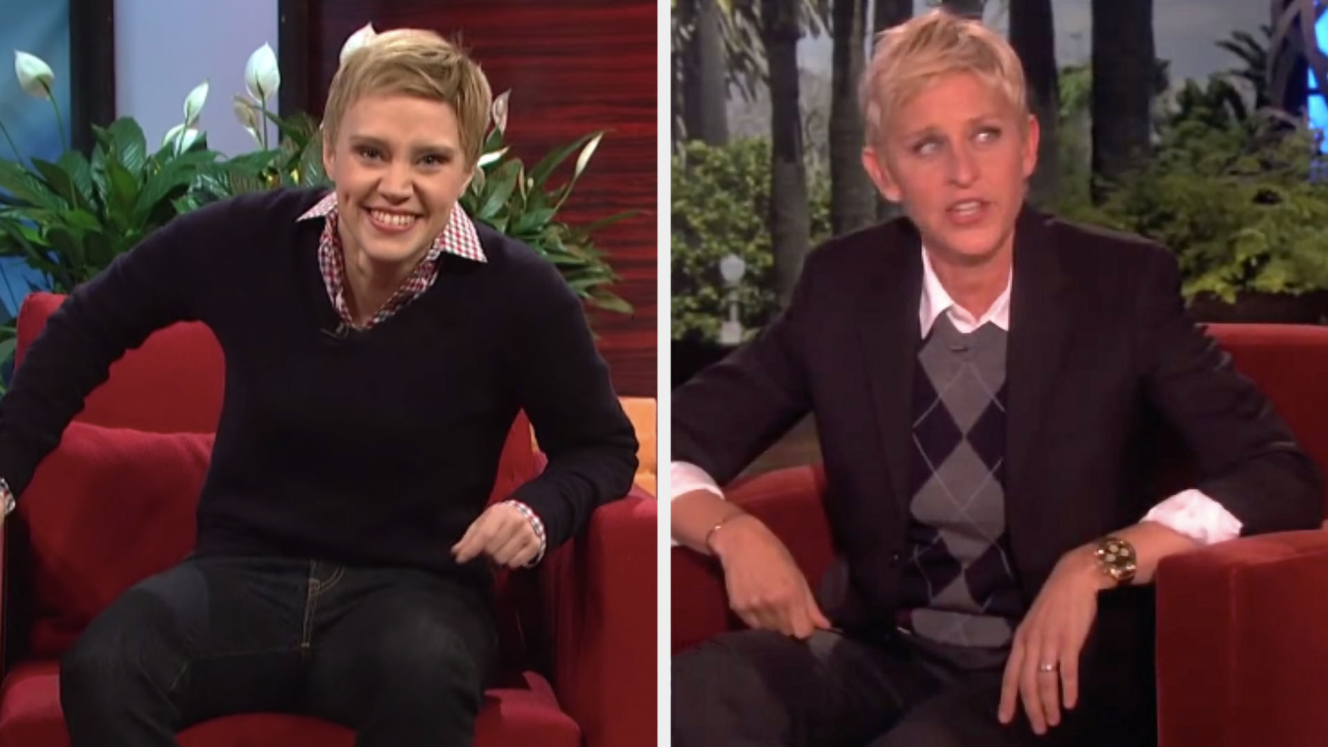 Kate McKinnon dressed as Ellen in a black sweater over a collared shirt side by side to Ellen wearing a similar outfit on her show