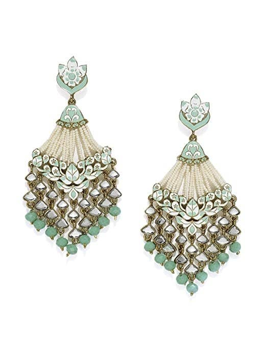 Dangly white and teal earrings with mirror work