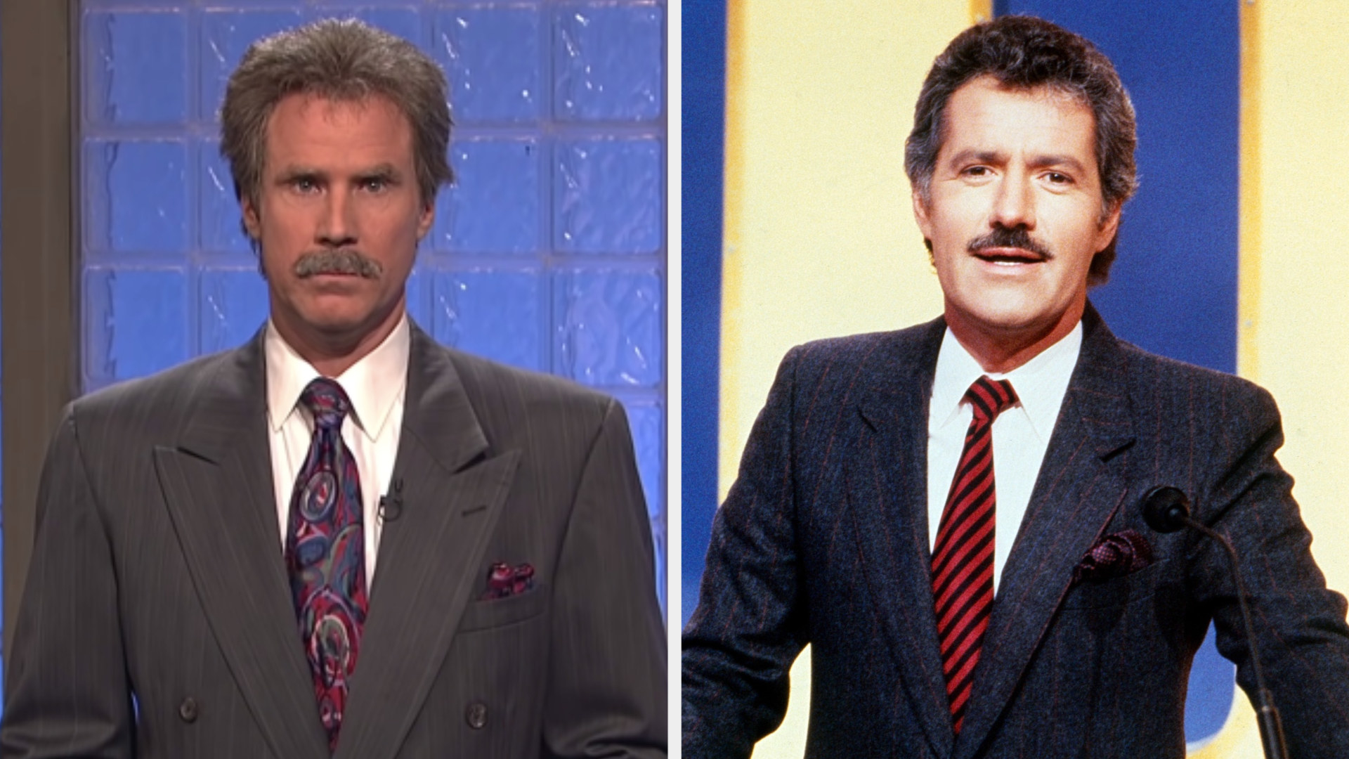 Will Ferrell wearing a boxy suit and a mustache side by side with a younger Alex Trebek