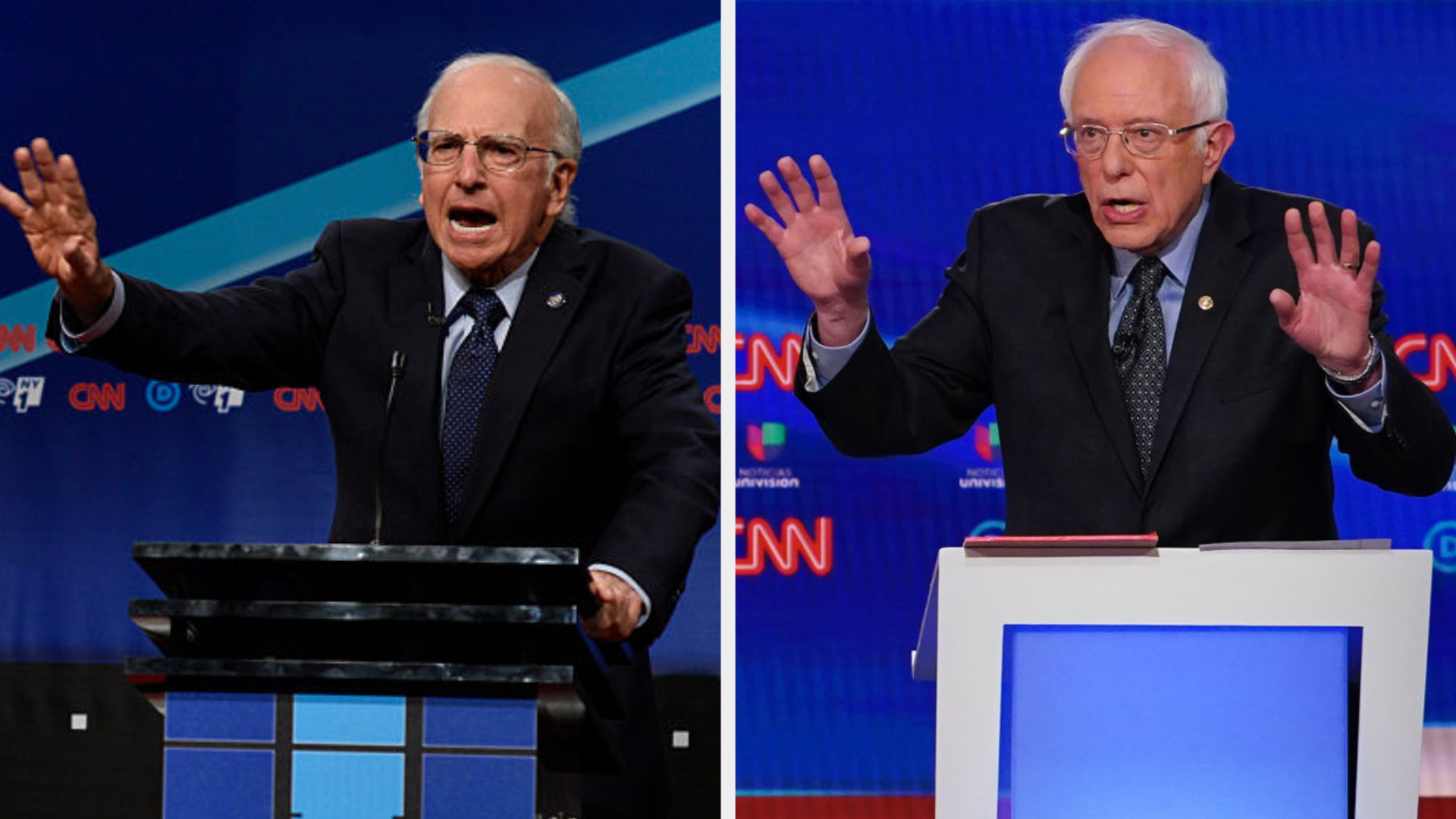 Larry David as Bernie on the debate stage talking with his hands side by side with Bernie on a debate stage talking with his hands