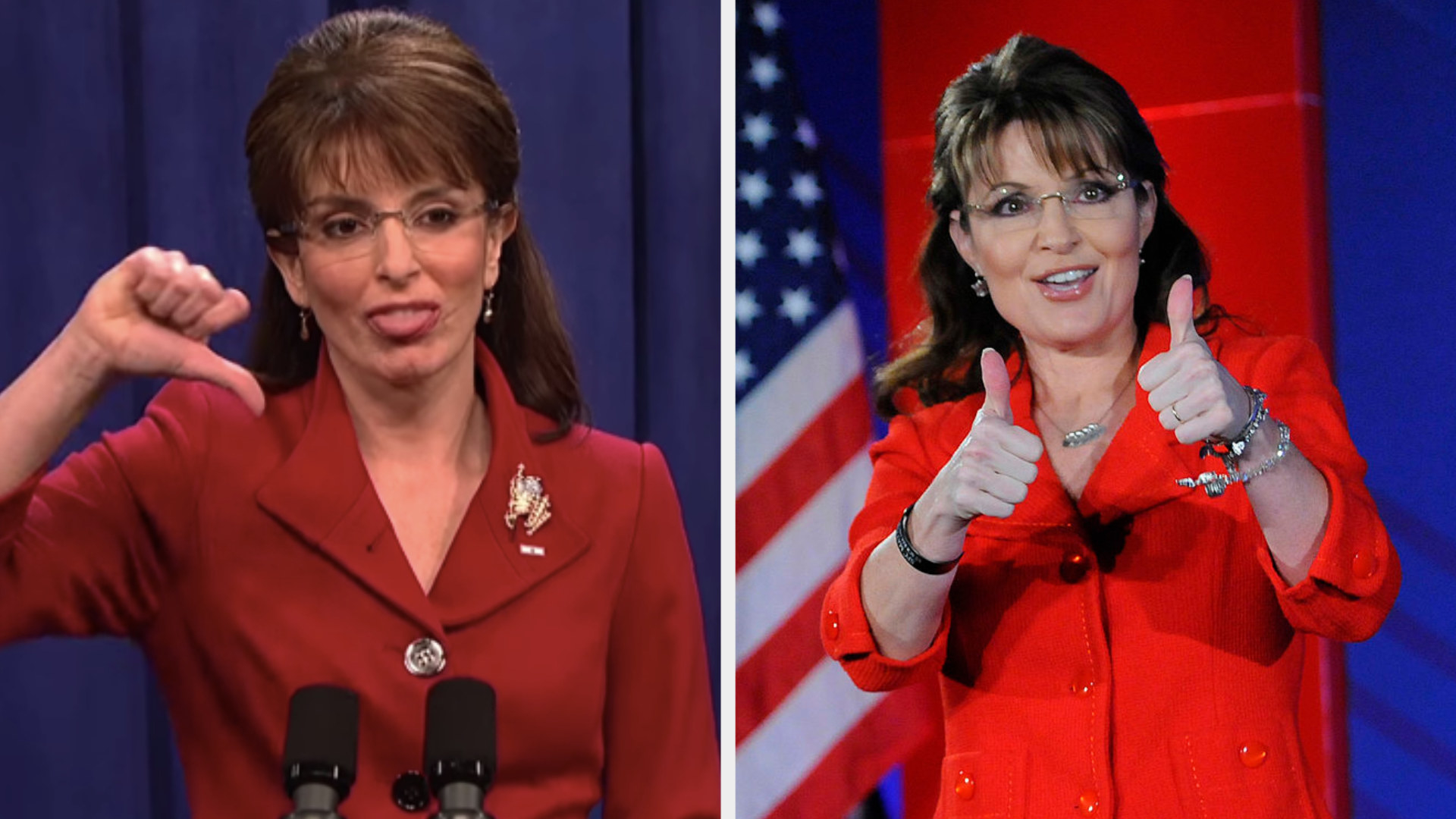 Tina Fey as Sarah Palin giving a thumbs down side by side to Sarah Palin giving two thumbs up