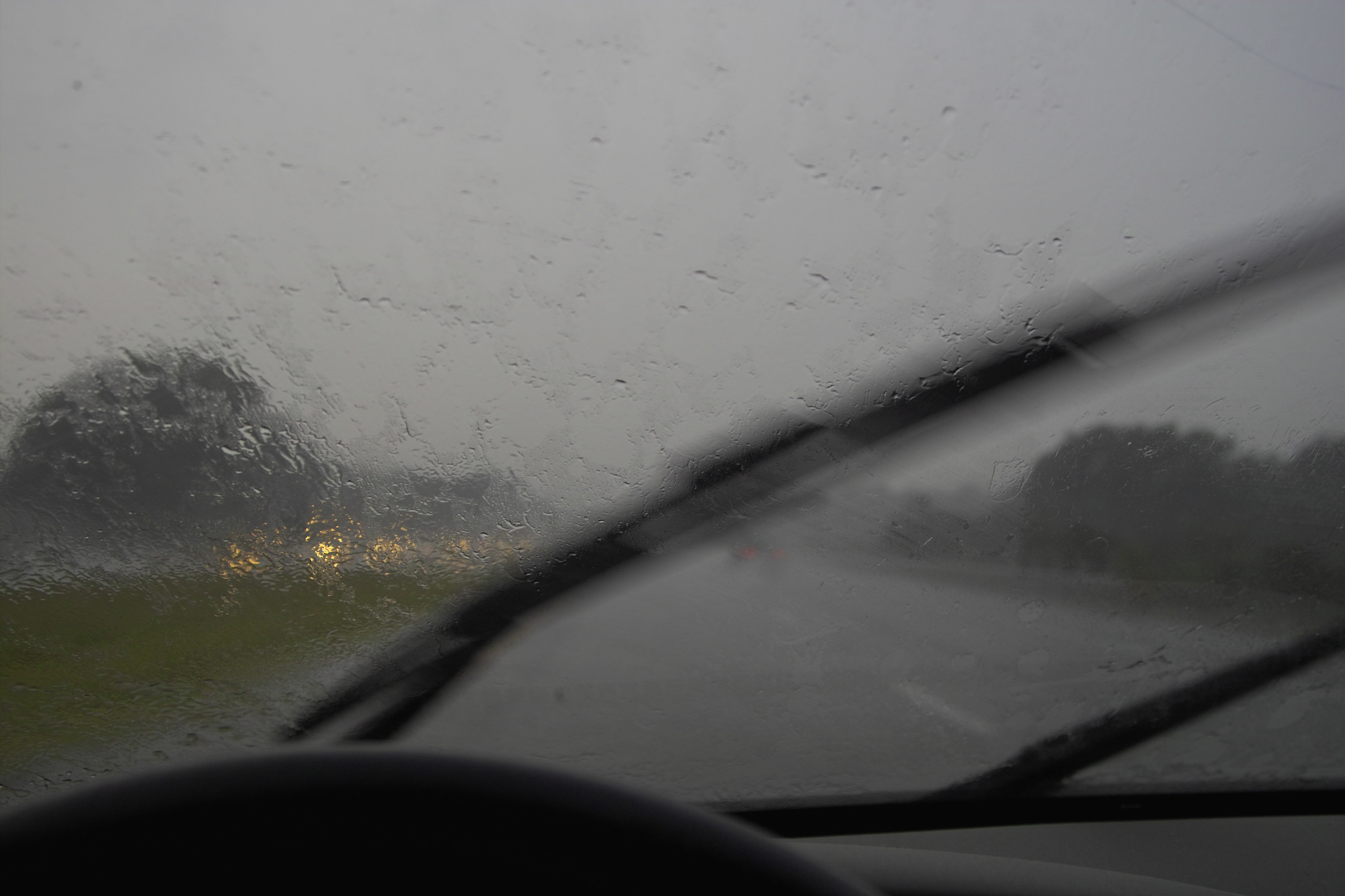 A rainy view of a highway