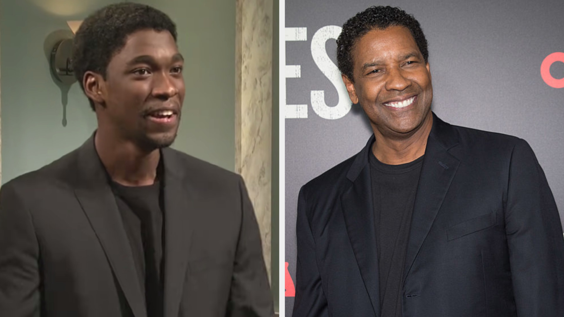 Jay Pharoah dressed in a black shirt and suit jacket side by side with Denzel wearing the same thing